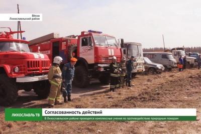 В Лихославльском районе проводятся комплексные учения по противодействию природным пожарам