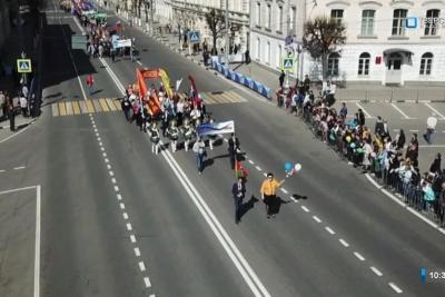 Делегация Лихославльского района во главе с Натальей Виноградовой приняла участие в праздничной первомайской демонстрации в Твери