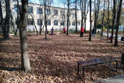 Субботник в парке у Дворца Культуры в поселке Калашниково
